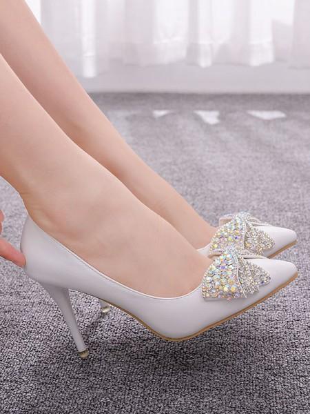 Aux Femmes PU Closed Toe With Faux diamants Stiletto Heel Talons hauts