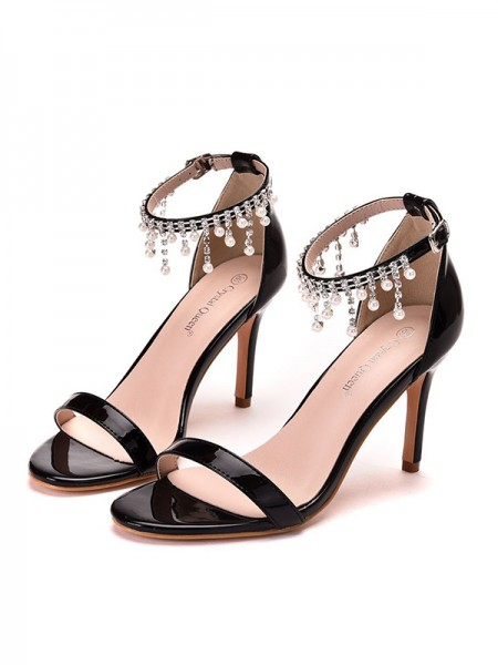 Aux Femmes PU Peep Toe Stiletto Heel Des sandales