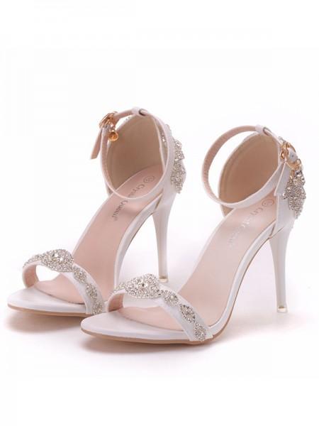 Aux Femmes PU Peep Toe Avec Fleur Stiletto Heel Des sandales