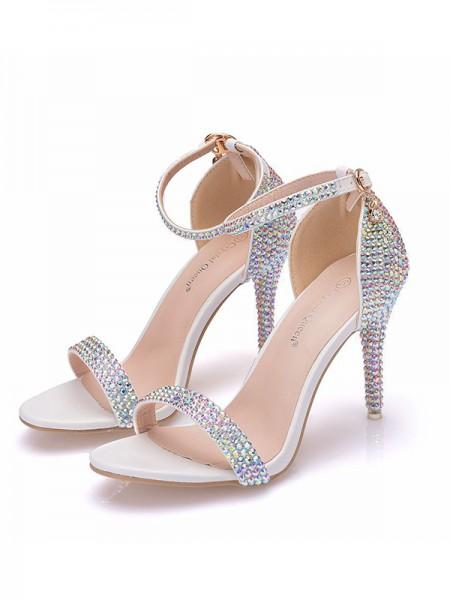Aux Femmes PU Peep Toe Avec Faux diamants Stiletto Heel Des sandales