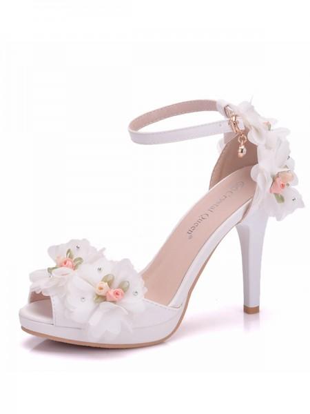 Aux Femmes PU Peep Toe With Flower Cone Heel Des sandales