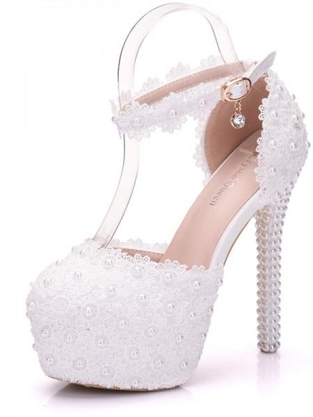Aux Femmes PU Closed Toe With Perles Stiletto Heel Platforms Des chaussures