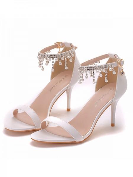Aux Femmes PU Peep Toe Avec Pearl Stiletto Heel Des sandales