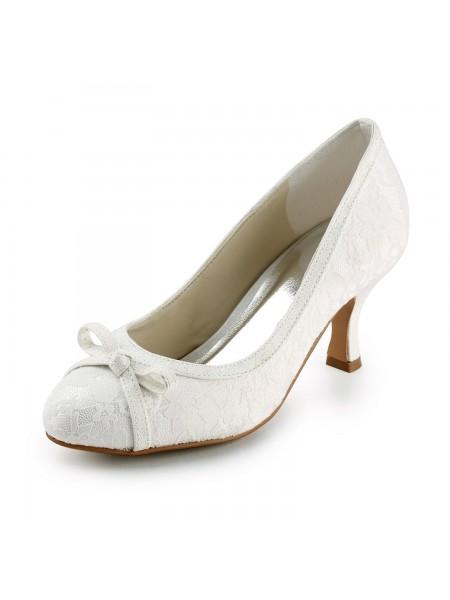 Women's Satin Spool Heel Toe Fermé Pumps Ivory Chaussures de mariage With Boucles
