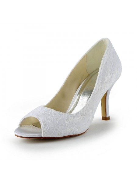 Women's Dentelle Satin Stiletto Heel Peep Toe Sandals White Chaussures de mariage