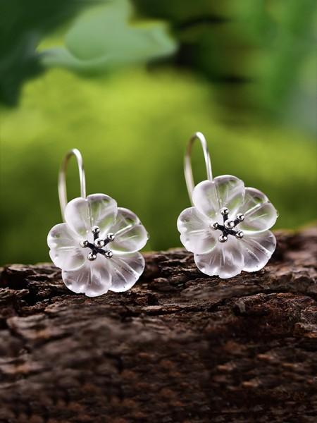 Joli S925 Silver With Flowers Des boucles d'oreilles For Women