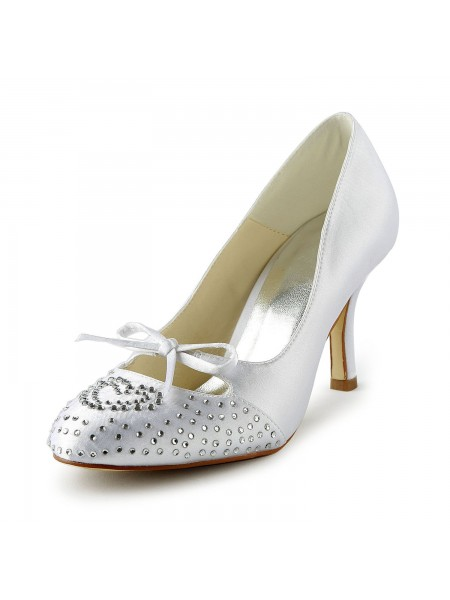 Women's Lovely Satin Stiletto Heel Toe Fermé With Faux diamants White Chaussures de mariage