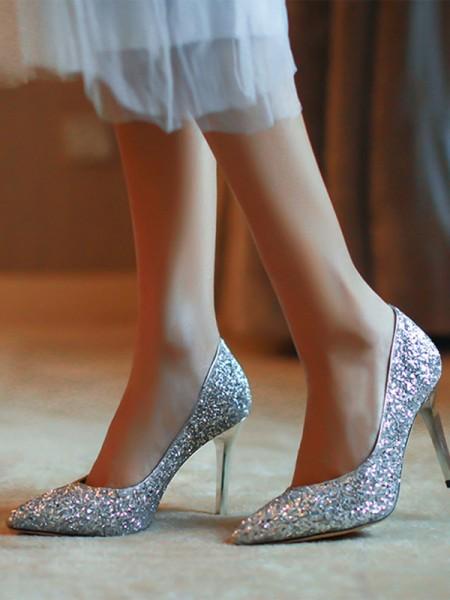 Aux Femmes Closed Toe Stiletto Heel Sparkling Glitter Talons hauts
