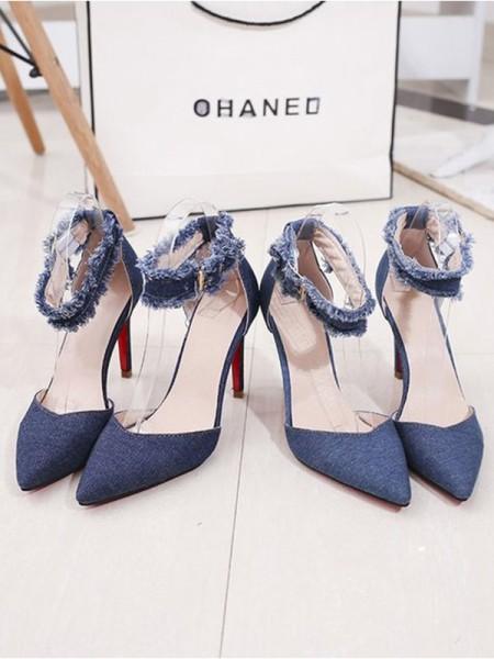 Women's Jean Stiletto Heel Closed Toe Sandals