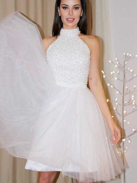 Trapèze/Principessa Sans Manches Licou Perles Tulle Courte/Mini Robe de Cocktail