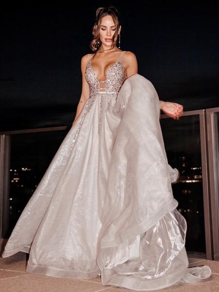 Trapèze/Principessa Tulle Col en V Sans Manches Perles Traîne courte Robes