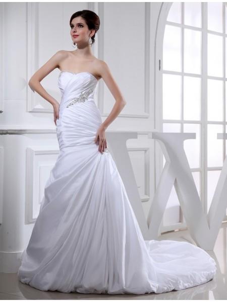 Perles Sirène/Trompette Longue Taffetas Robe de mariée