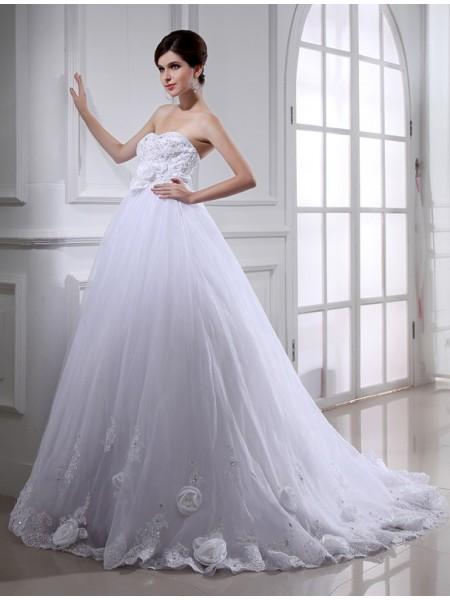 Robe de bal Perles Fleurs faites à la main Sans bretelles Sans Manches Longue Organza Robe de mariée