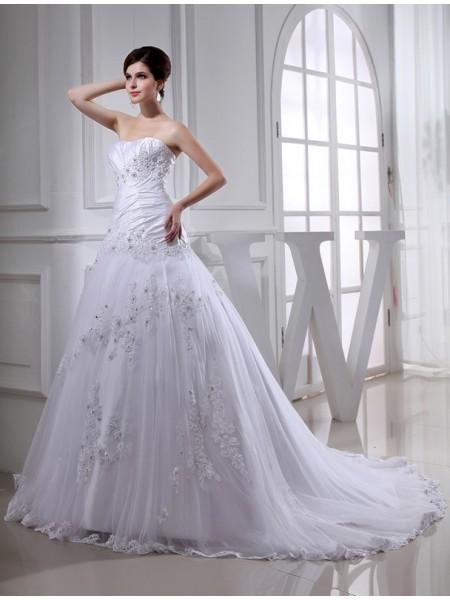 Trapèze/Princesse Perles Longue Sans Manches Sans bretelles Tulle Taffetas Robe de mariée
