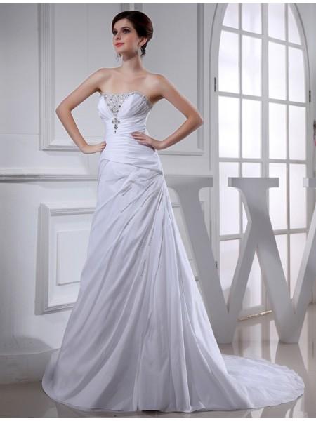 Trapèze/Princesse Perles Longue Sans Manches Taffetas Robe de mariée
