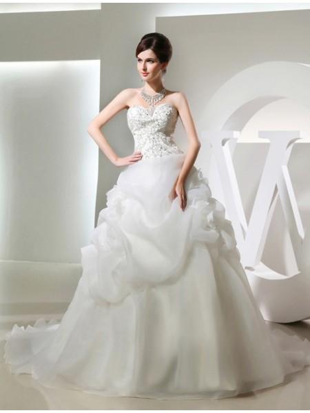 Robe de bal Perles Fleurs faites à la main Sans Manches Longue Organza Robe de mariée