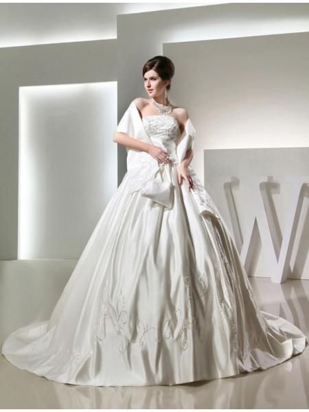 Robe de bal Perles Longue Sans bretelles Sans Manches Satiné Robe de mariée