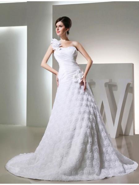 Trapèze/Princesse Col asymétrique Sans Manches Taffetas Fleurs faites à la mains Longue Robe de mariée