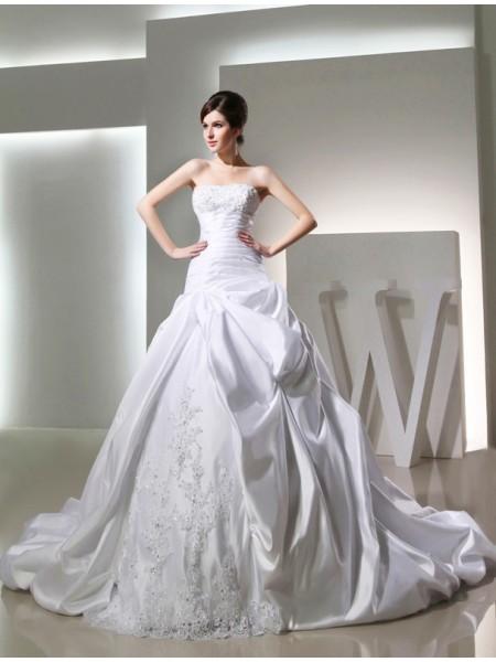 Robe de bal Perles Longue Satiné Sans bretelles Sans Manches Robe de mariée