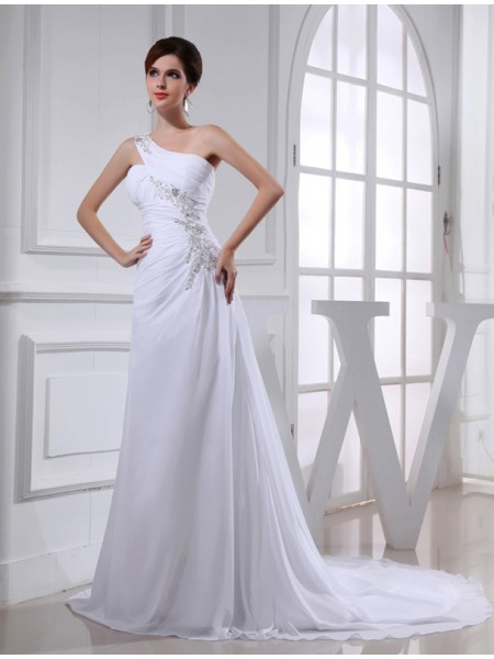 Trapèze/Princesse Perles Col asymétrique Sans Manches Mousseline Appliqués Robe de mariée