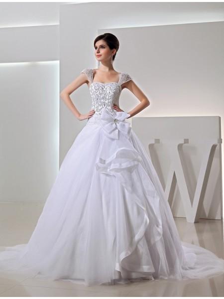 Perles Longue Robe de bal Broderie Organza Boucles Robe de mariée