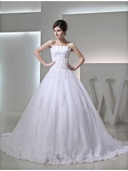 Robe de bal Perles Sans Manches Sans bretelles Satiné Appliqués Robe de mariée
