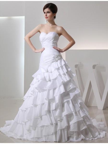 Trapèze/Princesse Perles Col en coeur Sans Manches Longue Taffetas Robe de mariée
