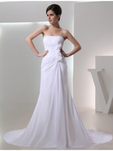 Trapèze/Princesse Perles Sans bretelles Sans Manches Pleated Mousseline Robe de mariée