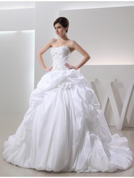 Robe de bal Perles Sans Manches Longue Taffetas Robe de mariée