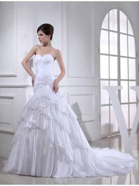 Sirène/Trompette Perles Appliqués Col en coeur Sans Manches Longue Taffetas Robe de mariée