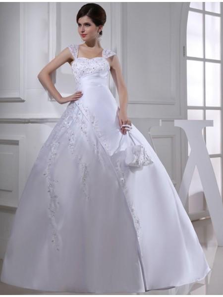 Robe de bal Perles Sans Manches Avec bretelles Longue Satiné Robe de mariée