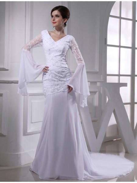 Sirène/Trompette Perles Col en V Mousseline Longue Robe de mariée