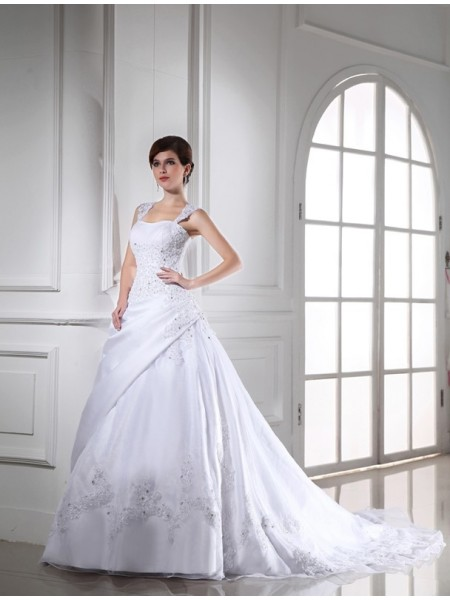 Robe de bal Perles Sans Manches Longue Satiné Organza Robe de mariée