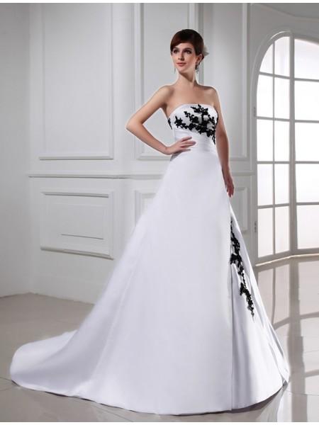 Trapèze/Princesse Perles Sans bretelles Sans Manches Longue Satiné Robe de mariée