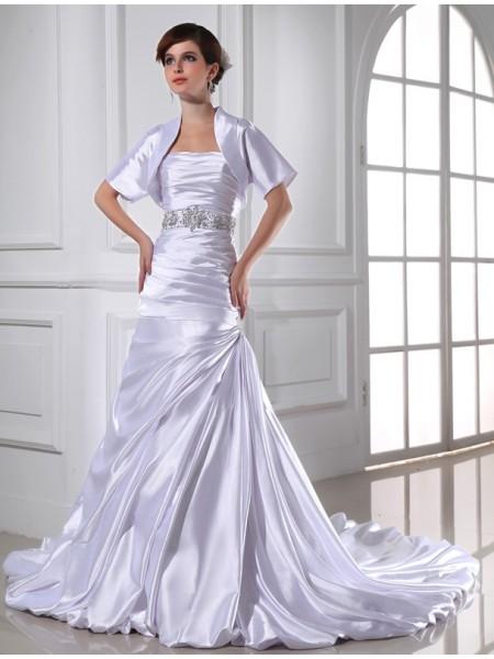 Sirène/Trompette Perles Sans bretelles Sans Manches Appliqués Satiné stretch Robe de mariée