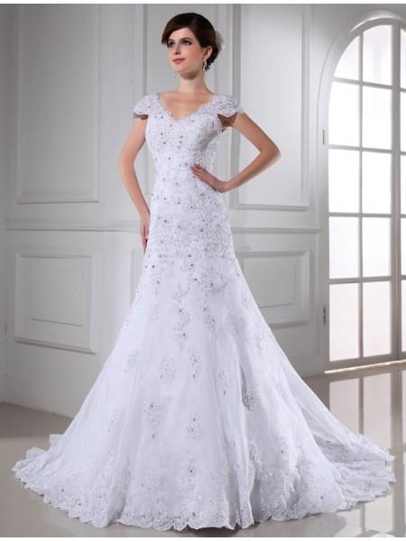 Trapèze/Princesse Col en V Perles Sans Manches Longue Organza Robe de mariée