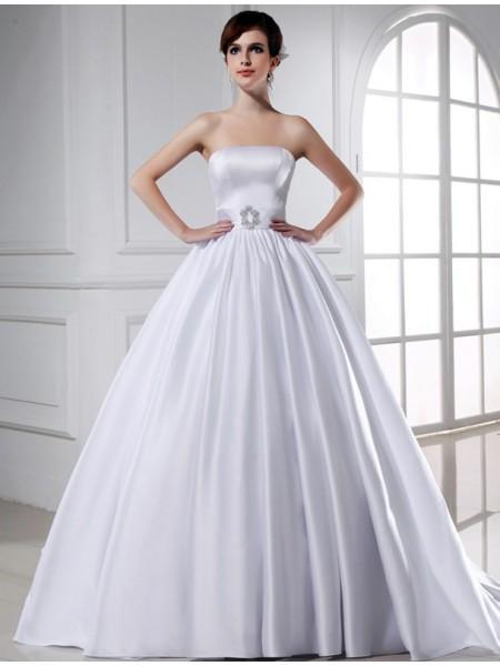 Robe de bal Perles Sans bretelles Sans Manches Longue Satiné Robe de mariée