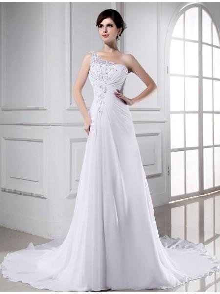 Trapèze/Princesse Perles Col asymétrique Sans Manches Longue Mousseline Robe de mariée