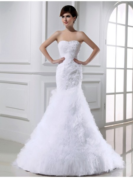 Sirène/Trompette Perles Sans Manches Tulle Longue Robe de mariée