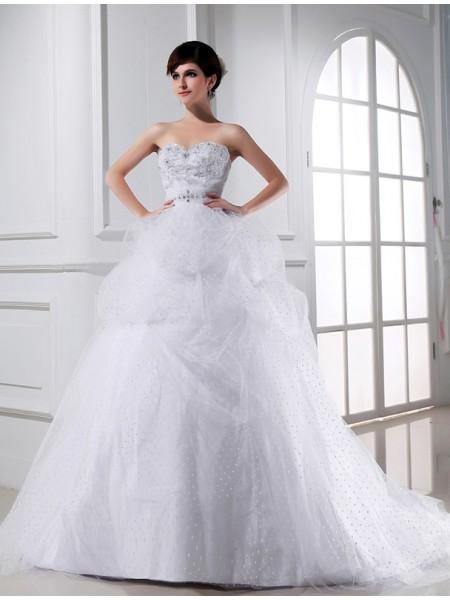 Robe de bal Perles Col en coeur Sans Manches Appliqués Satiné Tulle Robe de mariée
