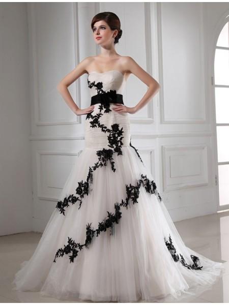 Sirène/Trompette Perles Col en coeur Sans Manches Appliqués Satiné Tulle Robe de mariée