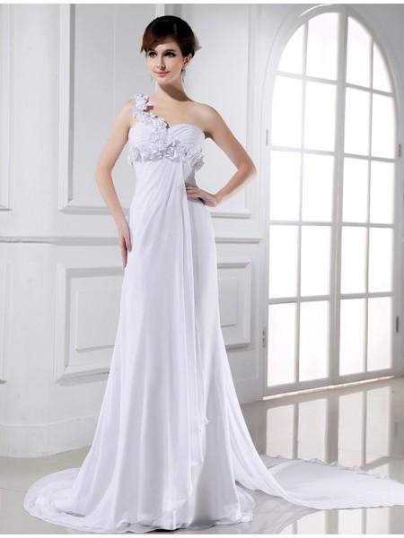 Trapèze/Princesse Col asymétrique Perles Fleurs faites à la main Sans Manches Mousseline Robe de mariée