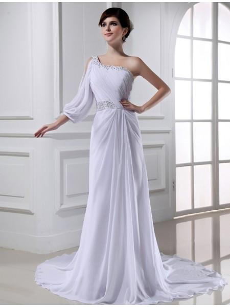 Trapèze/Princesse Perles Col asymétrique One-sleeve Mousseline Robe de mariée