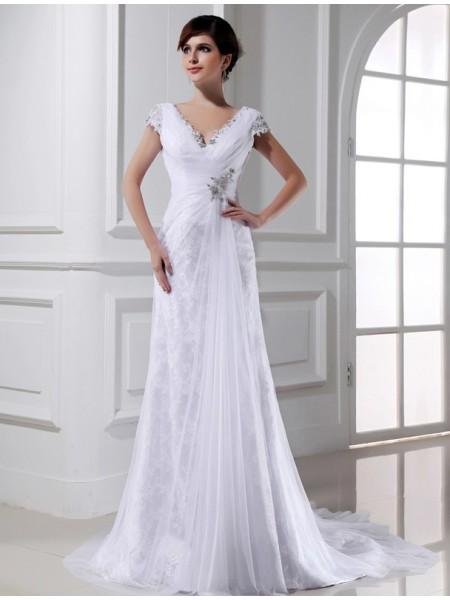 Trapèze/Princesse Perles Col en V Longue Sans Manches Tulle Robe de mariée
