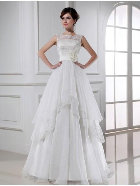 Trapèze/Princesse Perles Sans Manches Longue Dentelle Organza Robe de mariée