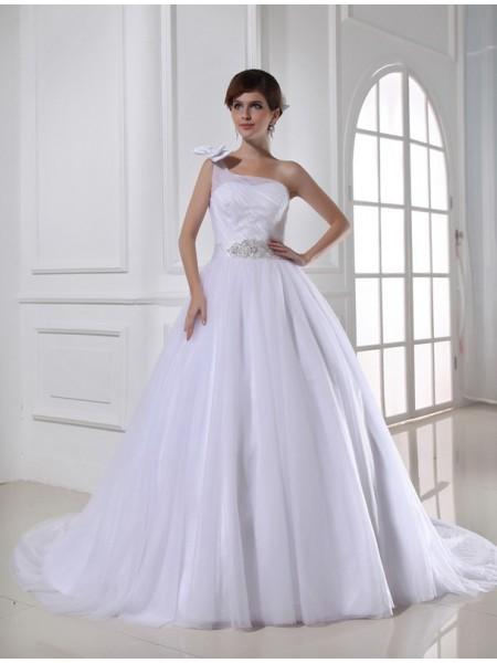 Robe de bal Perles Col asymétrique Sans Manches Satiné Tulle Robe de mariée