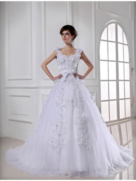 Robe de bal Perles Longue Satiné Tulle Sans bretelles Sans Manches Robe de mariée