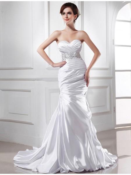 Sirène/Trompette Perles Col en coeur Sans Manches Satiné stretch Robe de mariée