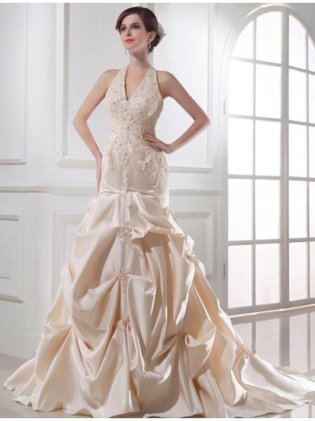 Sirène/Trompette Perles Licou Sans Manches Appliqués Satiné Robe de mariée