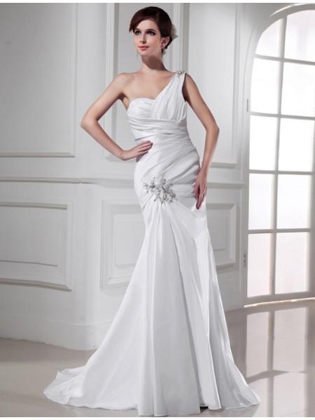 Sirène/Trompette Col asymétrique Perles Satiné Sans Manches Longue Robe de mariée